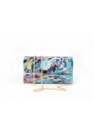 SONDRA ROBERTS LUCITE CLUTCH MULTI TURQUOISE